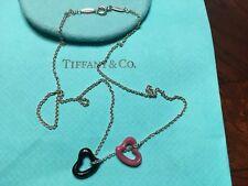 "Tiffany Co Peretti Sterling Silver Black Jade & Pink Rhodonite Hearts Chain 18 """