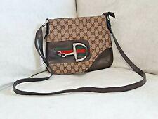 Authentic Gucci Horsebit Monogram Crossbody Bag Womans Leather