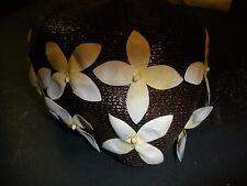 vintage ladies brown hat with white flowers Nice