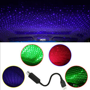 Car USB LED Decor Roof Interior Atmosphere Star Night Light Lamp Projector Light