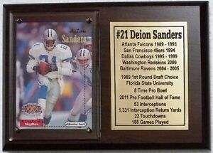 Dallas Cowboys Deion Sanders Football Card Plaque