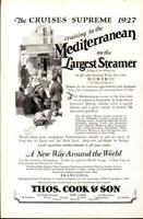 Advertising Thos. Cook & Son Mediterranean Steamer Cruise Homeric Fanconia 1926