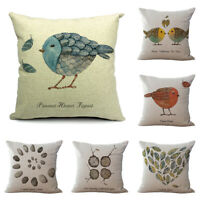 18'' Bird Cotton Linen Pillow Case Sofa Waist Throw Cushion Cover Home Decor