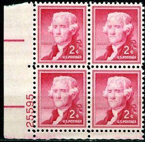 SC# 1033 - 2¢ Liberty Series - Thomas Jefferson - Mint Never Hinged Plate Block
