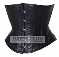 Underbust Corset Black Real Leather Full Steel Boned Shaper Spiral Basque Lacing