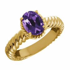 Solitaire Amethyst Yellow Gold 14k Fine Rings