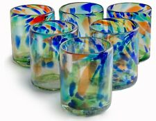 Orion Mexican Glassware Solid Confetti 12 oz All Purpose - Set of 6