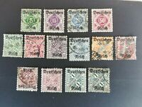 German Reich 1920 Government Service 14 Stamps from Württemberg Overprinted used