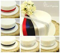 SATIN RIBBON 35mm DIAMANTE TRIM CAKE DECORATION BIRTHDAY WEDDING CAKE TOPPER