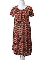 LuLaRoe Carly Stretch Knit Swing Dress Hi-Lo Hem Geometric Print Size XXS NWT