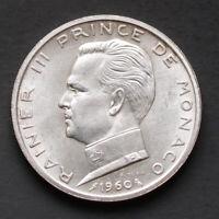 Pièce Argent Monaco 5 Francs Rainier III 1960 12 grammes