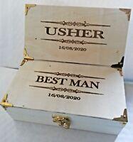Best Man - Usher Wooden Gift Box/Keepsake Box/Cigar Box Personalised With Date