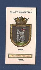 HMS WARWICK Ship Badge Crest Torpedo Boat Destroyer 1925 original print card