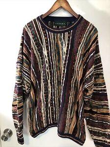 Tundra Canada Coogi Style Crew Neck 3D Knit Sweatshirt Biggie Smalls Cosby 2XLT