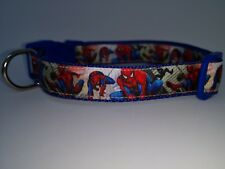 "Dog Collar 10"" - 14"" neck size.  FREE FABRIC DESIGN. SPIDERMAN made in England"