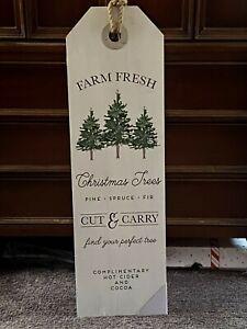 "NWT LARGE Farmhouse Rustic ""Farm Fresh Christmas Trees"" Sign 10.9x36 Wooden"