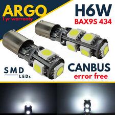H6W LED SMD 433 434 BAX9S OFFSET PINS CAR SIDE LIGHT BULBS ERROR FREE CANBUS 12V