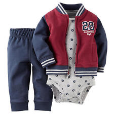 Carter's Baby Boy's 3-PC Terry Cotton Henley Jacket Bodysuit & Pants Set 6M NWT