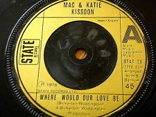 "MAC & KATIE KISSOON - WHERE WOULD OUR LOVE BE  7"" VINYL"