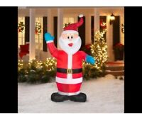 7ft Christmas Santa Claus Blue Mittens Lighted Airblown Inflatable Yard Decor
