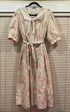 laura ashley vintage a line cottage core floral dress with lace collar 14 Belt