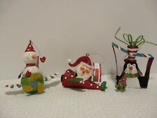 LOT OF 3 CUTE GLITTER BRITE METAL CHRISTMAS ORNAMENTS NEW WITH TAGS
