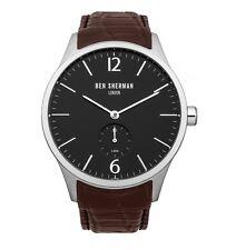 Ben Sherman minima Quadrante Nero Men's Watch con coccodrillo marrone cinturino in pelle Rrp £ 85