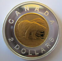 CANADA 2014 $2 GOLD PLATED 99.99% PROOF SILVER TOONIE HEAVY CAMEO COIN