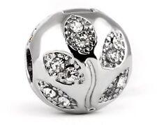 Silver plated, rhinestones bracelet stopper charm bead. Pandora's Vault inc.