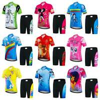 Kids Cycling Clothing Set Short Sleeve Cycle Jersey Top and Padded Shorts Kit