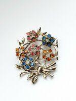 Vintage Silver Tone Paste Stones Flowers Brooch
