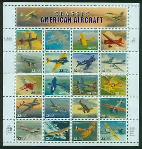 Classic American Aircraft Scott #3142 US Stamp 32 Cent Sheet Full Pane Sealed