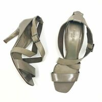 PAULE KA PARIS Heels 40 Sandals 9.5 Leather Taupe Criss Cross Nude Tan Buckle