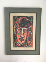 Vtg Mid Century Abstract Expressionism Original Oil Painting Face Gamble