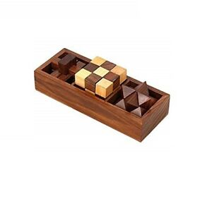 Challenging 3 in 1 Wooden 3D IQ Puzzle Game Set for Teens Adults Brain Teasers