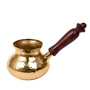 Copper Turkish Greek Arabic Coffee Pot Hammered Wood Handle Stovetop Coffe Maker