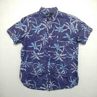 Molokai Surf Co Men Sz XL Blue Button Down Beach Shirt Aloha Short Sleeve Cotton
