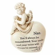 Graveside Memorial Statue Cherub Angel sitting on a Heart - Nan