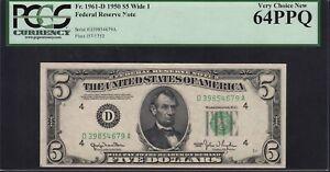 Fr. 1961-D Wide I DA Block 1950 $5 Cleveland PCGS Currency Gem New 64 PPQ