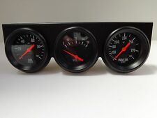 "Universal 2 5/8"" Black Oil Pressure Water Volt Triple 3 Gauge Set Gauges Kit"