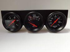 "Universal 2 5/8"" Black Oil Pressure Water Volt Triple 3 Gauge Set Gauges Kit"