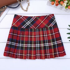 Girls Children Tartan Check Pleated Mini Skirt Skater Plaid Dress School Uniform