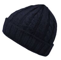 Cable Knit Warm Knitted Woolly Winter Ladies Fleece Girls Beanie Mens Grey Hat