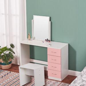 Modern Dressing Table Set Makeup Desk w/4 Drawer Large Mirror &Stool Bedroom UK