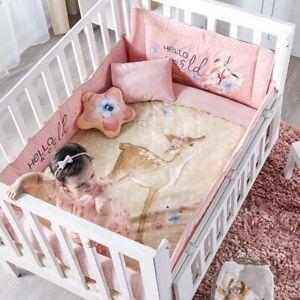 BAMBI DEER BABY GIRLS CRIB BEDDING SET NURSERY 7PCS BABY SHOWER GIFT 100% COTTON