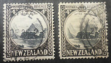 "NEW ZEALAND #209 & #209a (PERF. 12.5)  USED (NZB2) CAT.$12.70 ""MITRE PEAK"" 4 PEN"