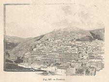 A1425 Pescina - Panorama - Xilografia - Stampa Antica del 1895 - Engraving