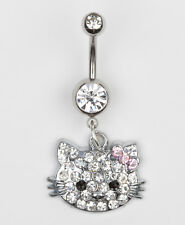 HELLO KITTY BELLY BAR NAVEL RING SURGICAL STEEL Clear Crystal  SILVER  TONE