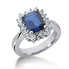 3.00 Carat tw Women's Diamond and Blue Sapphire Fancy Ring 14K White Gold