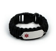 Paracord Medical ID Survival Bracelet with Color emblem Free medical wallet Card